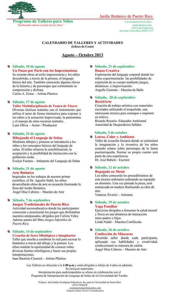 Talleres gratis en el jard n bot nico cuponeando pr for Talleres jardin botanico